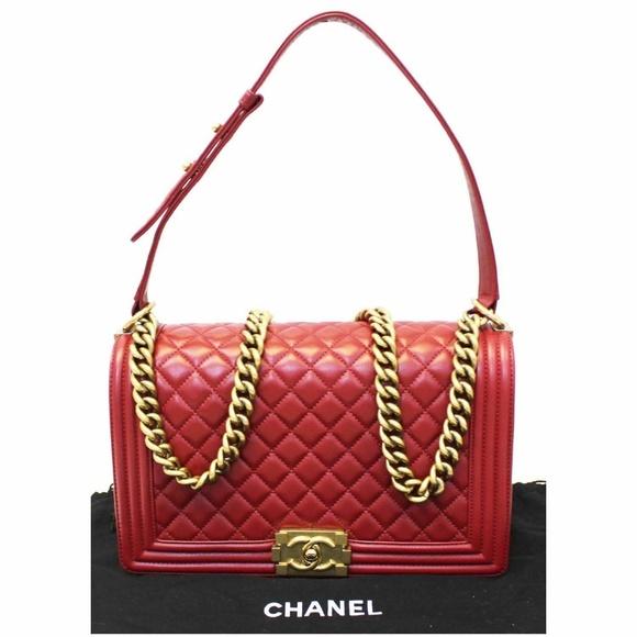 CHANEL Handbags - CHANEL Medium Boy Flap Lambskin Leather Bag Red